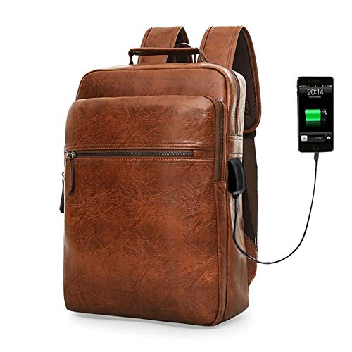 Men's Backpacks College Student Day Bag PU Leather Large Capacity Business Mens Laptop Knapsack Leisure Travel Rucksack  ()