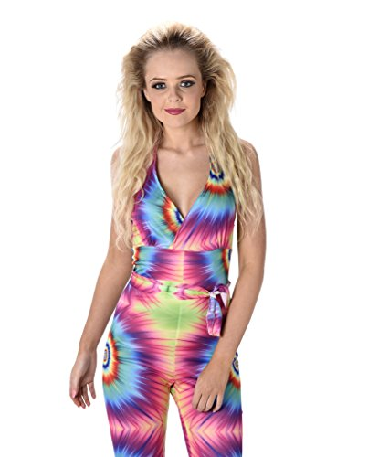 Women's Tie Dye Jumpsuit Costume 1960s 1970s - Halloween (S)