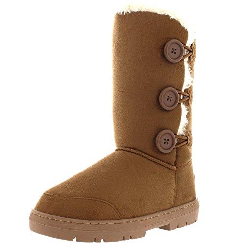Mujer Botón Clásico 3 Zapato Lluvia Bota Piel Forrada Light Invierno De Tan Nieve r4xrq5w