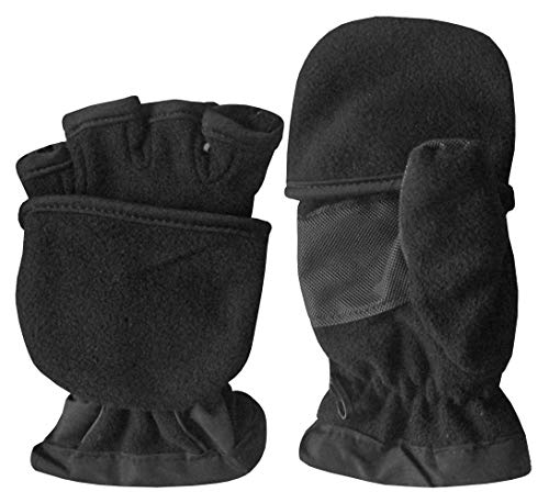 N'Ice Caps Kids Thinsulate Lined Winter Converter Fingerless Glove To Mitten (5-6 Years, Black Solid)