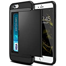 iPhone 6 Plus Case, iPhone 6S Plus Case, SAMONPOW Dual Layer Hybrid iPhone 6 Plus Wallet Case Card Slot Shockproof Heavy Duty Protection Defender Soft Rubber Bumper Cover for iPhone 6/6s Plus - Black