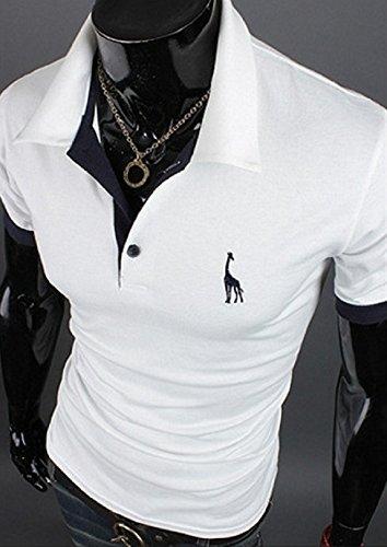 【Smile LaLa】 メンズ ポロシャツ 半袖 トップス 無地 シンプル カジュアル スポーツ ゴルフ ウェア ワンポイント ロゴ 夏服