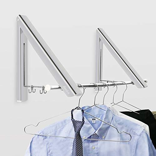 Becko Wall Mounted Clothes Hanger Aluminum Folding Drying Coat Racks Home Storage Organiser 2 Packs