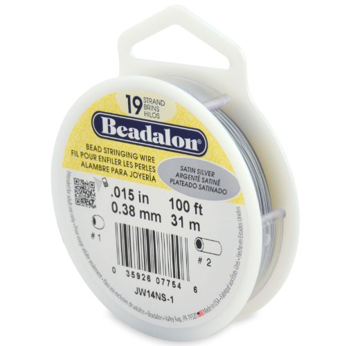 Beadalon 19-Strand Bead Stringing Wire, 0.015-Inch, Satin Silver, 100-Feet ()