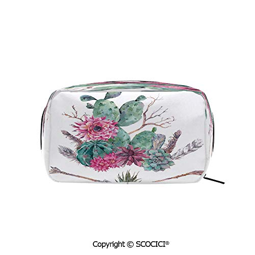 Rectangle Beauty Girl And Women Cosmetic Bags Exotic Natural Vintage Watercolor Bouquet Bohemian Arizona Vegetation Decorative Printed Storage Bags for Girls Travel
