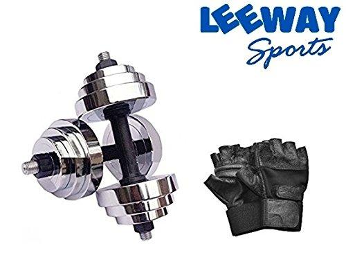 LEEWAY Steel Chrome-Plated Adjustable Dumbbell Set for Men and Women, 10-50Kg (A2786YTGVBN)