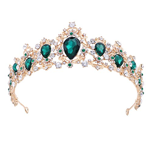 Frcolor Royal Crystal Tiara Green Rhinestone Queen Tiara Wedding Crown Princess Hair Accessories for Bridal (Emerald Color)]()