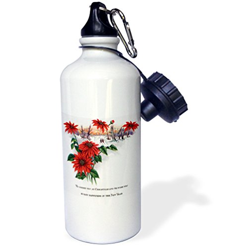3dRose Pretty Winter Scene Bright Red Poinsettias and Christmas Greetings-Sports Water Bottle, 21oz (wb_171067_1), 21 oz, Multicolored -