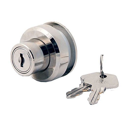 FJM Security 3780-KA Plunger Lock with Glass Door Spacer with Chrome Finish, Keyed Alike