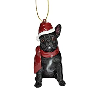 Design Toscano French Bulldog Holiday Dog Ornament Sculpture, Full Color