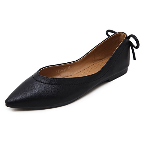 Flats Arcs Sans Chaussures Noires Fermeture Orteil Womens Pointu Uréthane Adeesu wOqIURSn