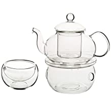 SODIAL(R) Set of Heat-resistant Glass Teapot with Strainer Flowers And Flower Tea Kung Fu Tea Gift 600mL