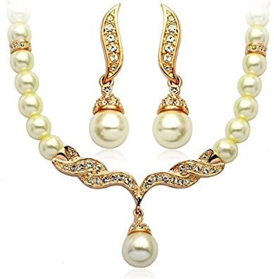 Pearl Necklace Bracelet Earrings Jewellery Set Wedding Bride Any Occasion Gift