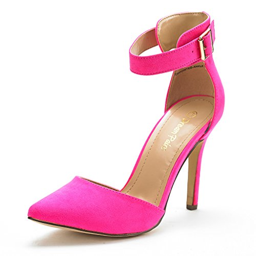 Wedge Fuchsia Women - DREAM PAIRS Oppointed-Ankle Women's Pointed Toe Ankle Strap D'Orsay High Heel Stiletto Pumps Shoes Fuchsia-SZ-9