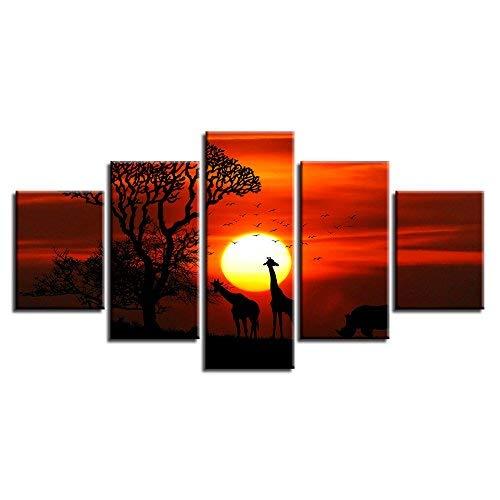 oferta de tienda Frame Frame Frame 40x60 40x80 40x100cm BAIF 5 Piezas Lienzo de Pintura d HD Imagen decoración para Parojo de la Sala 5 Piezas Animal Ciervos en el Bosque psicodélico Paisaje Lienzo Modular Pintura Arte  autorización