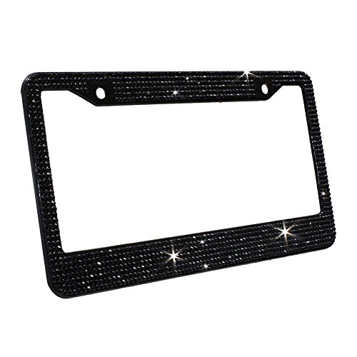 Carfond 7 Row Handcrafted 1000Pcs Finest 14 Facets SS20 Premium Crystal Diamond Stainless Steel License Plate Frame Bonus Matching Screws Caps (Black crystal) Crystal Screw Caps