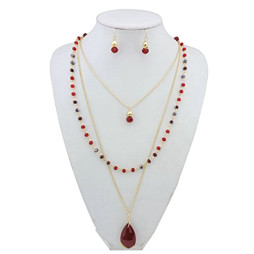 BOCAR New Fashion 3 Layer Jewelry Set Long Chain Pendant Bead Necklace Earring for Women (NK-10036-red)