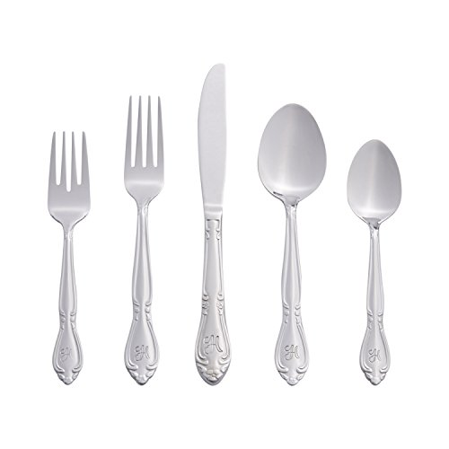 Patterns Stainless Flatware (RiverRidge Home 46 Piece Monogrammed Flatware, Rose Pattern, Service for 8, H)