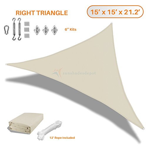 Sunshades Depot 15 x15 x21 Right Triangle Waterproof Knitted Shade Sail with 6 inch Kit Curved Edge Beige 220 GSM UV Block Shade Fabric Pergola Carport Awning Canopy Replacement Awning
