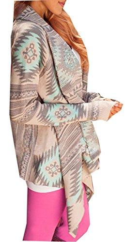 Maglia Maniche Sweatercoat Verde In Jacket A Cardigan Geometrica Stampa Minetom Lunghe Elegante Irregolare Da Donna Maglione qHPWR