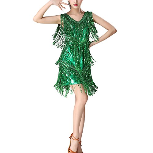 Funny Roaring 1920s Flapper Inspired Party Stage Christmas Costume Dress Outfits Green]()