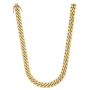 32.90 Ct Diamonds 14k Yellow Gold 15mm Curb Chain Necklace - 24""