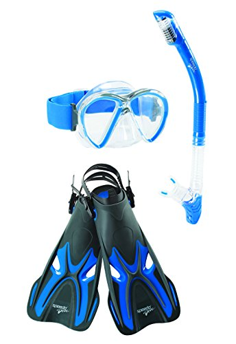 Speedo Reefseeker Underwater Mask/Snorkel/Fin Set, Grey/Blue, Large/X-Large
