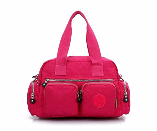 Women's Shoulder Bags Messenger Cross Body Nylon Bag Casual Handbag Satchel (color: Rose Red)