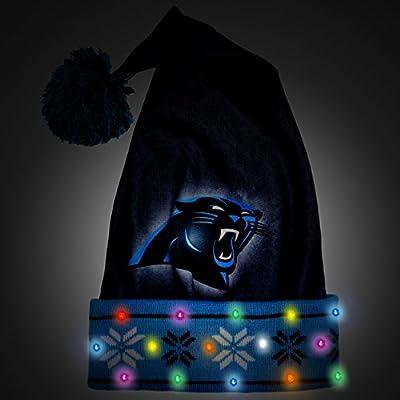 NFL Carolina Panthers Light Up Printed Santa Hat, One Size, Blue