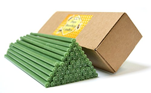 Natural Pure Beeswax Candles Organic Honey Eco Green Color Candles in Gift Box (Natural Cotton Wicks, Dripless, Smokeless) (Green, 8 Inches (20 cm) 60pcs)