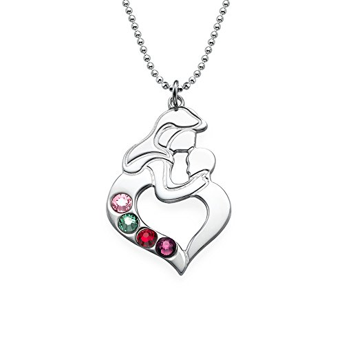 Sterling Silver Mother's Child Necklace with Birthstones - Custom Made with Any Birthstone!