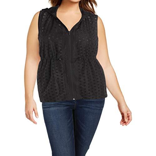 (Nanette Lepore Play Women's Embroidered Eyelet Vest, Black, L )