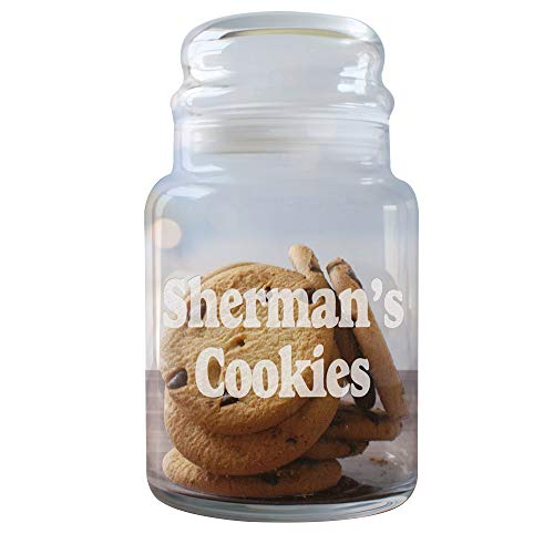 Engraved Any Message Glass Cookie Jar, Holds 31 oz, Dishwasher Safe