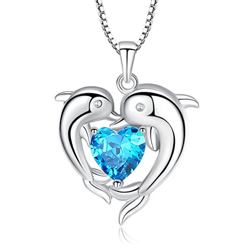 Sterling Silver Double Dolphin with Light Blue CZ Heart Pendant Necklace, Jewelry for Women, Girl, 18