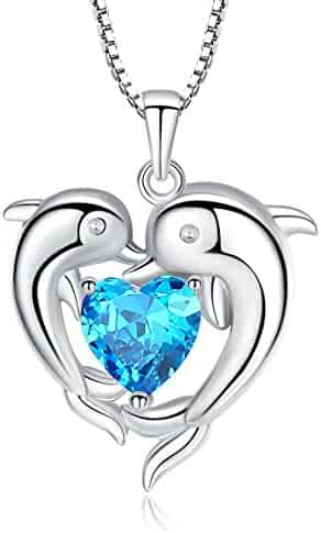 cf22b2909 Sterling Silver Double Dolphin with Light Blue CZ Heart Pendant Necklace,  Jewelry for Women,