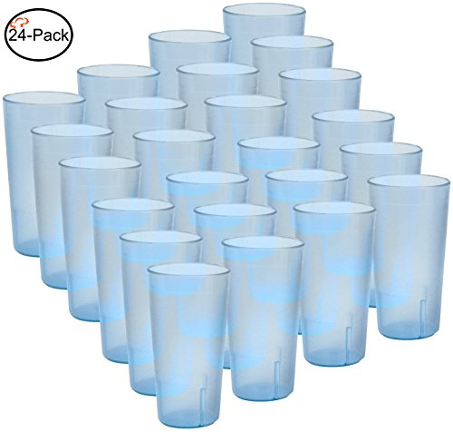 Tiger Chef 16-Ounce, 24-Pack Blue Stackable Restaurant Beverage Cup Break-Resistant Plastic Tumbler Set, BPA-Free