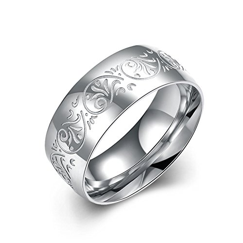 - JAJAFOOK Mens Wedding Bands 8MM 316L Stainless Steel Floral Carved Promise Rings
