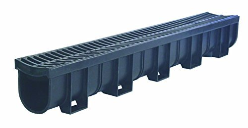 - US TRENCH DRAIN, 83300 - 3.33 ft Regular Trench Drain - Black Polymer, Heel Friendly Grate - For Drainage Systems, Driveway, Basement, Pools, etc.