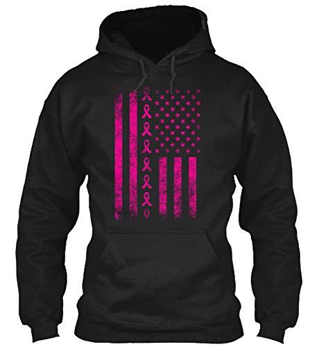 Pink Ribbon Hooded T-shirt - American Flag Pink Ribbon T-Shirt Breast Cancer Awareness Mom Girl Survivor Warrior Gift Tee (Gildan 8oz Heavy Blend Hoodie;Black;5XL)