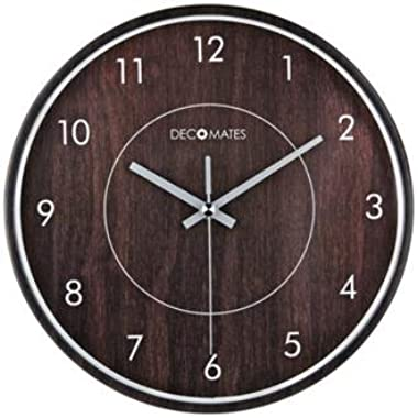 DecoMates Non-Ticking Silent Wall Clock, Wood Film