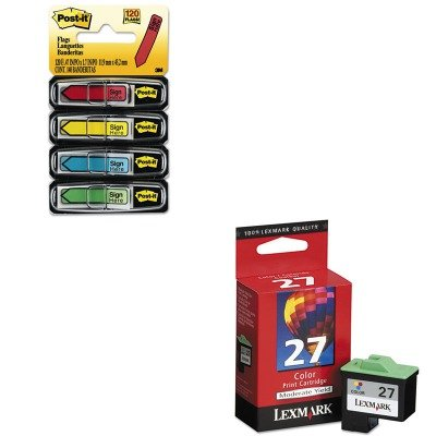 H - Value Kit - Lexmark 10N0227 27 Ink (LEX10N0227) and Post-it Arrow Message 1/2amp;quot; Flags (MMM684SH) (10n0227 Ink)