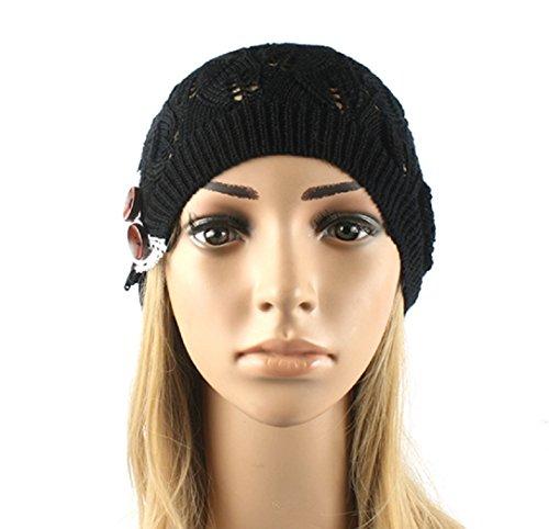 (YABINA Women's Loose Knit Lightweight Chevron Pattern Beanie/Skull Cap (Black))