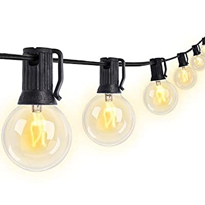 Bomcosy G40 String Lights, 25ft Waterproof IP45 Commercial Grade Outdoor String Light UL Listed 23 Sockets 5W Incandescent Bulbs E12 Base Warm White 2200K for Party Backyard Patio Bistro Cafe, Black