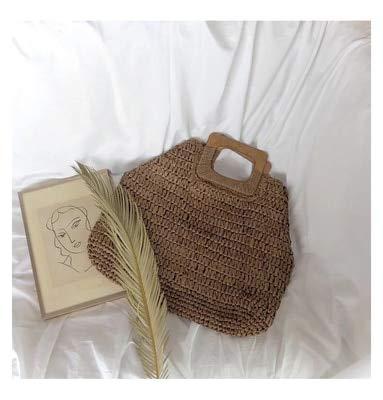 - Zozu Summer Round Straw Beach Bag Vintage Handmade Woven Shoulder Bag Raffia Circle Rattan Bags Bohemian Summer Vacation Casual Bags (Dark brown)
