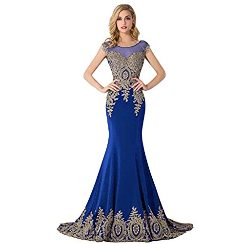MisShow Womens Crystal Long Formal Mermaid Evening Prom Dresses,Royal Blue,Size 10