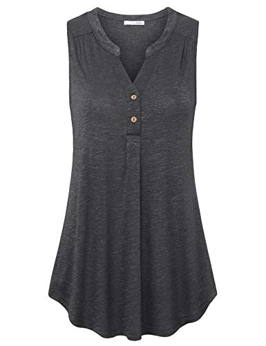 Messic Women's Fashion Blouses 2019, Loose Fit Tank Tops for Women Vintage Summer Clothing Western Wear Leisure Trendy Sleeveless Tunics V Neck Button Henley Tank Shirts Carbon Grey XL ()