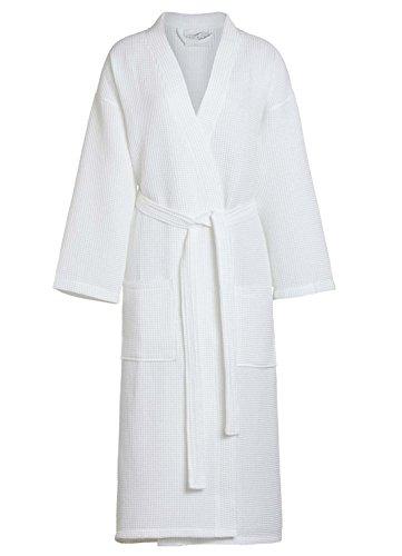 TowelBathrobe Waffle Kimono Bathrobe Square Pattern Unisex (XXL, White) (Square Waffle Robe)