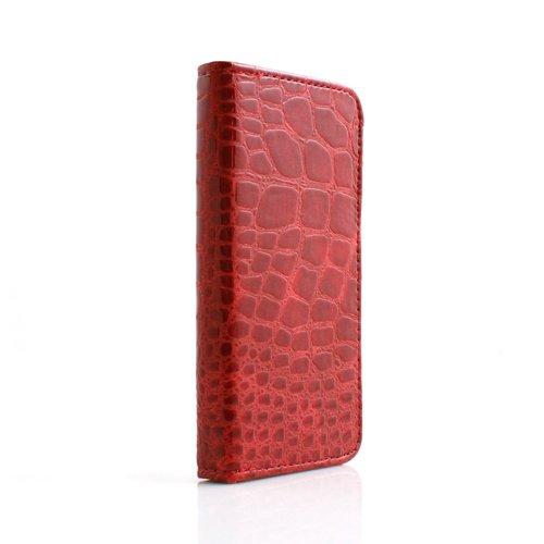 System-S Etui Schutz Tasche Case Cover Hülle Schutzhülle Bookstyle in Rot für Apple iPhone 5