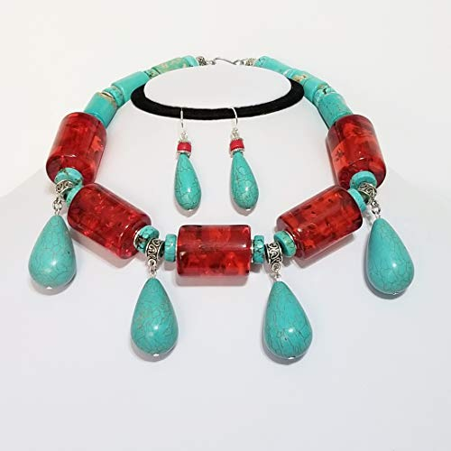 - Turquoise Teardrops Silver Big Vintage Lucite Beads Necklace Earrings One of a Kind