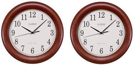 12.5 La Crosse Technology WT-3122A 12.5 Inch Wood Atomic Analog Clock 2 Cherry Walnut